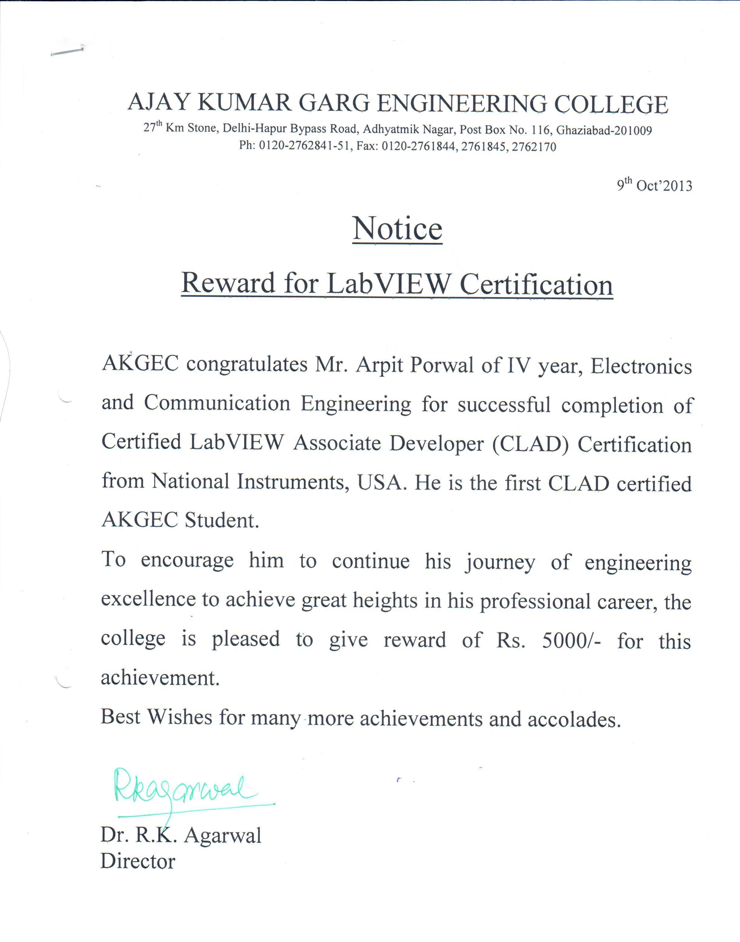Akgec ni reward for clad certification to akgec student 1betcityfo Choice Image